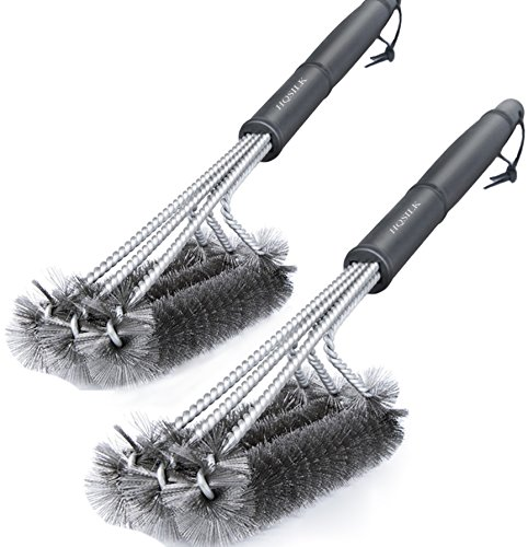 BBQ Grill Brush, Set of 2 Stainless Steel Wire Bristles Barbeque Grill Cleaning Brush 18