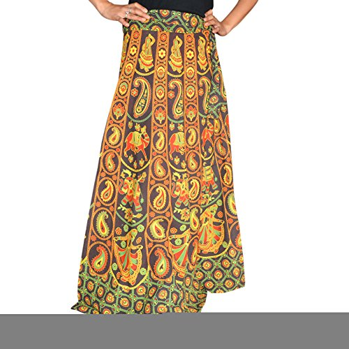 Marusthali Printed Cotton Elephant & Camel Designer Wrap Around Skirt - Hand Block Printed Cotton Skirt