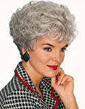 YIMANEILI Short Curly Wigs for Women Silver Gray Bob Fluffy Hair Wigs Heat Resistant Synthetic with Wig Cap (1#)