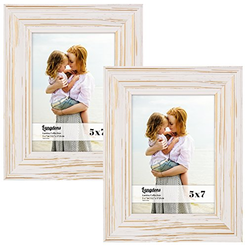 Langdons 5x7 Real Wood Picture Frames (2 Pack, Weathered White - Gold Accents), White Wooden Photo Frame 5 x 7, Wall Mount or Table Top, Set Of 2 Lumina Collection ()