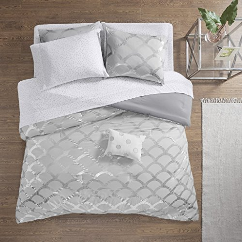 Intelligent Design Lorna Metallic Print Mermid Scale Scallop Polka Dots Ultrasoft Microfiber Comforter and Sheet Set Bag Bedding, Twin XL Size, Gray 6 Piece