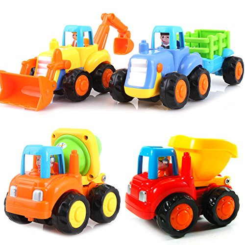 set of 4 cartoon friction powered push play vehicles for import it all. Black Bedroom Furniture Sets. Home Design Ideas