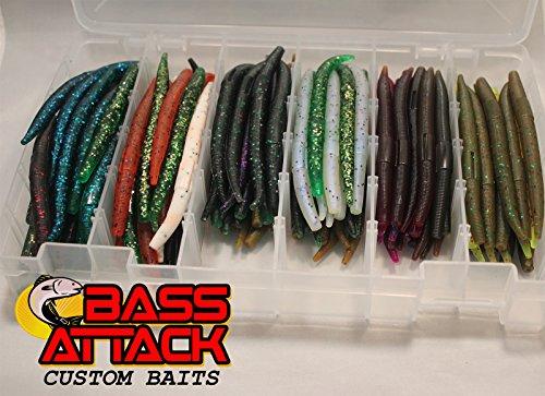 """200 Cnt 4"""" Bassattack Senko Stick Worm Assortment Bass Lures, 20 packs of 10"""