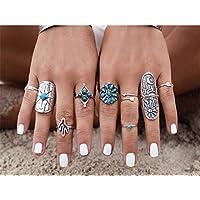QTMY Sliver Vintage 9 Pcs Ring Set for Girls Women