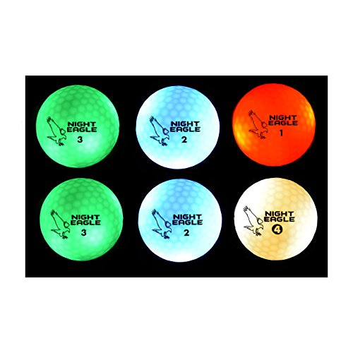 Night Eagle CV LED Golf Balls - Light Activated - No Timer - 6 Pack (2xGreen,2xBlue,Red,White) ()