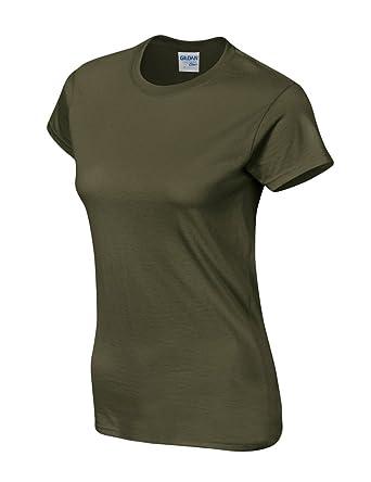 98dbbb5af Bestgift Femme T-Shirt Top Cotton col-Rond Manche Courte Couleur Unie