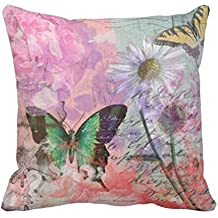 Damuyas butterfly high-heel Pattern Cotton Linen Throw Pillow Case Cover sofa Decor (3#)
