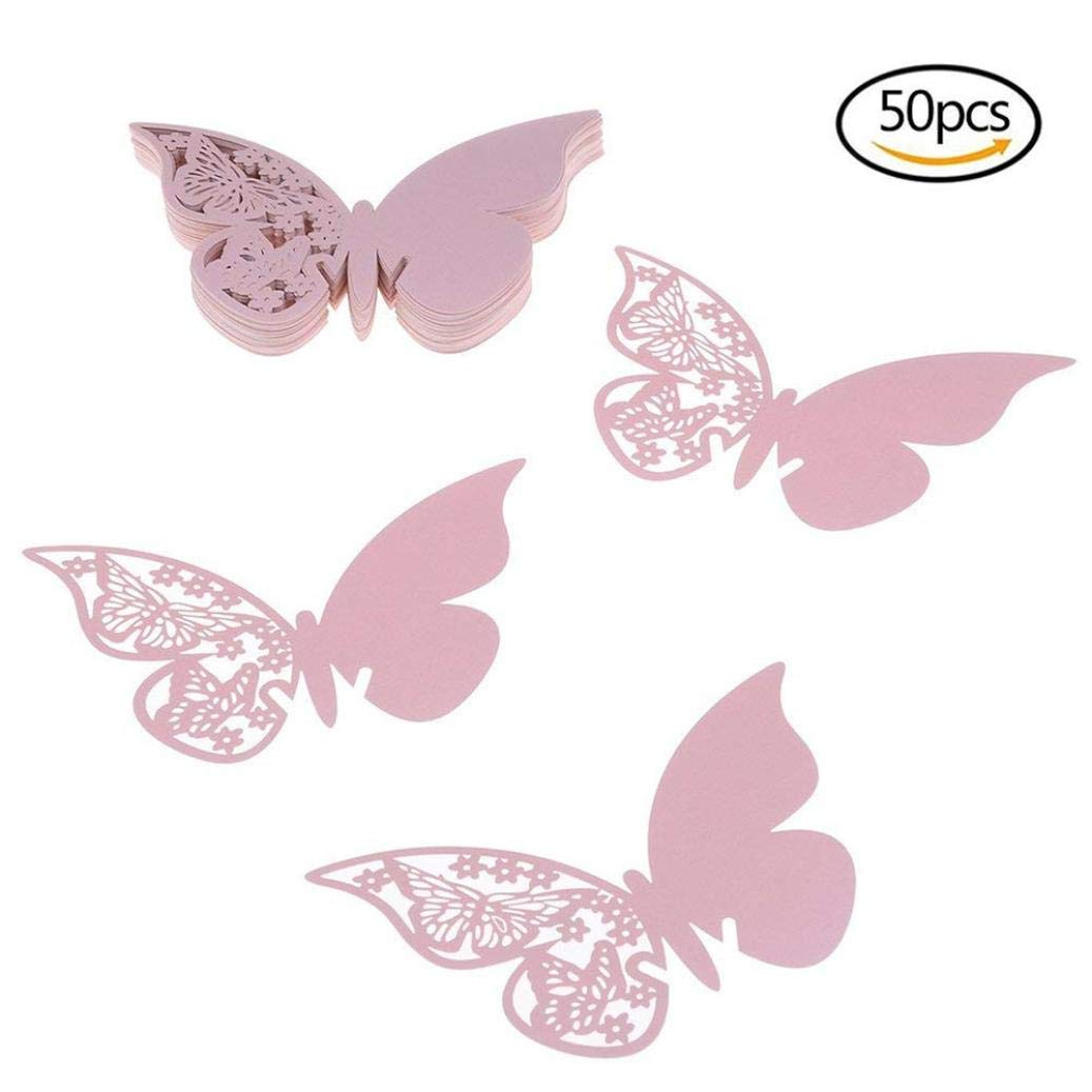 50PC Butterfly Wine Glass Cup Card,Lovewe Butterfly Wedding Party Table Number Name Paper Place Cards Wine Glass Cup blue