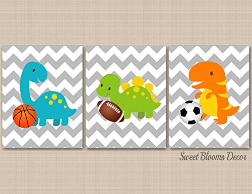 Dinosaur Nursery Wall Art,Sports Dinosaur Kids Wall Art,Dinosaur Gray Chevron Nursery Decor,Dinosaur Bathroom,Dinosaur Playroom Wall Art-UNFRAMED Set of 3 PRINTS (NOT CANVAS) C222
