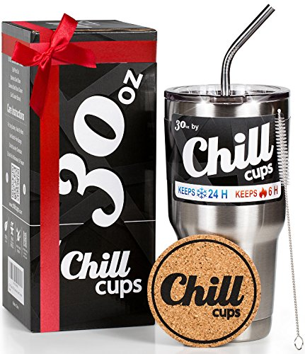 Insulated Travel Coffee Thermal Cup - 30 oz Double Wall Vacuum Drinking Stainless Steel Tumbler Mug with Spill Proof Lid and Straw - Keeps Your Beverage Hot or Cold - Free Bonus Coaster by Chill Cups