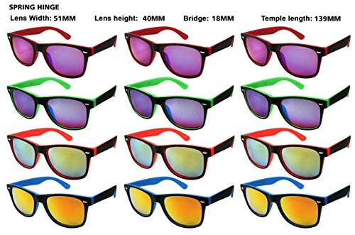 Edge I-Wear 12 Pack 80's Sunglasses with 100% UV Protection - Neon Bulk Sunglasses