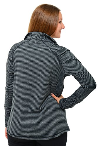 90 Degree by Reflex - PLUS SIZE ACTIVEWEAR Performance and Yoga Apparel - All Over Stripe Half Zip Black & Htr Charcoal Stripe XXL