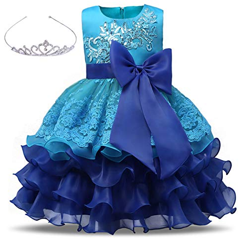 AiMiNa Girls Dress Bowknot Embroidered Princess Party Holiday Dresses with Accessories Age of 7-8 Years(Blue) - Dresses Cute Holiday