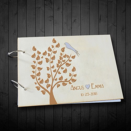 Unique Wedding Guest Book Tree with Birds Personalized Bride and Groom Name and Date Heart Wedding Scrapbook Albums 8 x 12 inches
