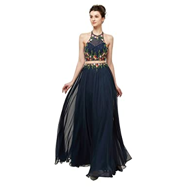 Leyidress Womens Halter Dress Navy Blue Chiffon Embroidered Prom Dress A Line Evening Dress 2