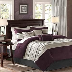 Amazon Com California King Size Luxury Bedding Comforter Set In Simple Stripes Design 7 Piece
