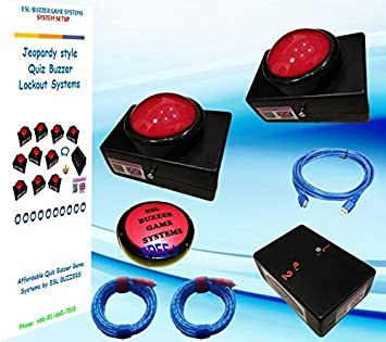 amazon quiz buzzer system 2 player table top slammers with 5mt
