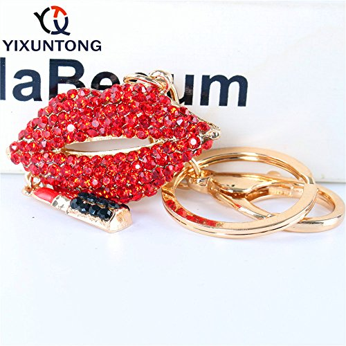 JewelBeauty Sexy Kiss Lip with Lipstick Crystal Rhinestone Keychain Key Chain Sparkling Key Ring Charm Purse Pendant Handbag Bag Decoration Holiday Gift (red) ()