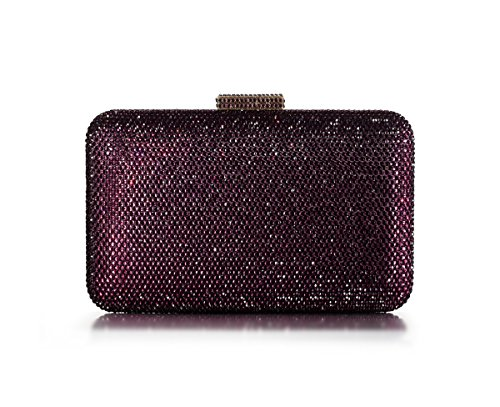 DMIX Womens Large Crystal Clutch for Wedding Bridal Party Prom Evening Bag Purple - Plum Clutch