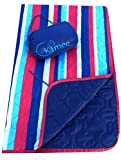 Kamee - #1 Outdoor Blanket, Sandless Beach Blanket, Picnic Blanket 7.5' x 5' - Poncho Liner, Woobie - Nautical Stripes