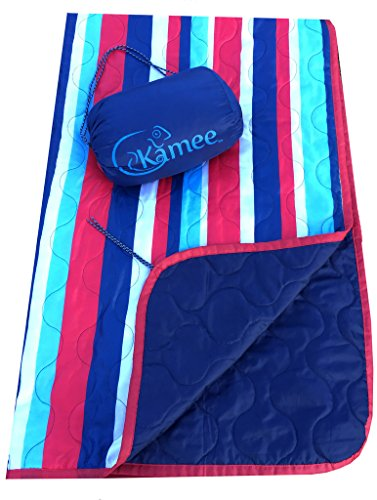 Kamee - #1 Outdoor Blanket, Sandless Beach Blanket, Picnic Blanket 7.5' x 5' - Poncho Liner, Woobie - Nautical Stripes ()
