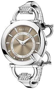Gucci Chiodo Steel Diamond Bangle and Case Brown Dial Women's Watch(Model:YA122512)