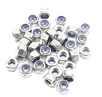 binifiMux 40pcs M4 x 0.7mm 304 Stainless Steel Nylon Lock Nuts Inserted Hex