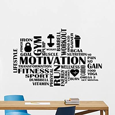 Motivation Fitness Words Cloud Gym Wall Decal Motivational Fitness Vinyl Sticker Inspirational Wall Decor Fitness Motivation Quote Sport Wall Art Training Workout Wall Mural 88fit