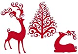 "Reindeer with Christmas Tree, Vector - 24""W x 17""H - Peel and Stick Wall Decal by Wallmonkeys"