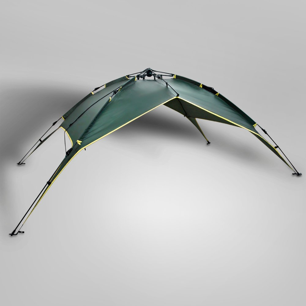 Flexzion Instant Dome Tent - 2-3 Person Automatic Double Layer Waterproof for Outdoor Sports Family Camping Hiking Travel Beach with Zippered Door and Carrying Bag in Army Green by Flexzion (Image #3)