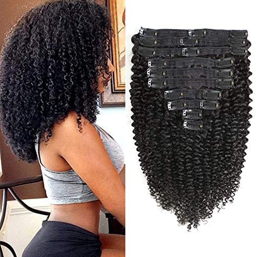 Rolisy Kinkys Curly Clip in Hair Extensions Afro 3C 4A Kinky Curly Clip ins Real 8A Brazilian Remy Hair for Black Women Double Lace Wefts Hair,Natural Black Color,10 Pcs,120 Gram,12 Inch