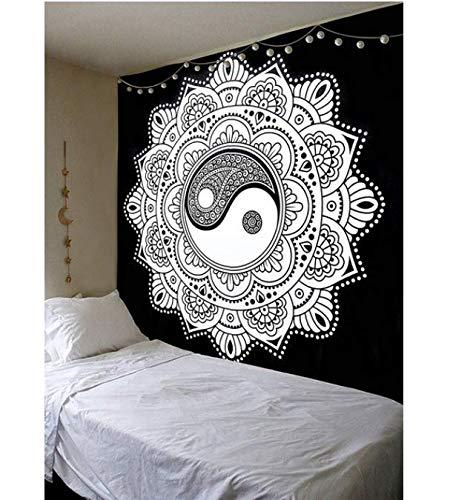 230 cm Bianco Nero Ying Yang Mandala arazzo Appeso a Parete copriletto Home Decor Boho Hippy Decorativo Hippie Tappeto arazzo 150