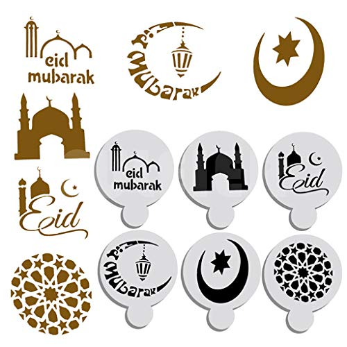(Cake Decorating Stencils, Tuscom 6pcs Ramadan Mubarak Art Stencils Mold Star Moon Templates Cookie Fondant Side Baking Stencil for Oatmeal Cupcake Cappuccino Mousse Hot Chocolate)