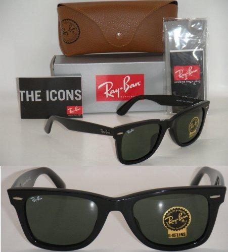 Ray Ban ORIGINAL WAYFARER ASIAN FIT RB 2140F 901 52mm BLACK FRAME GREEN ()