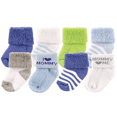 Luvable Friends Baby 8 Pack Newborn Socks, Blue/Mommy, 6-12 (Friends Booties)