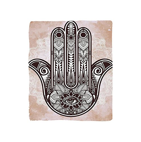 VROSELV Custom Blanket Hamsa Collection Hand of Fatima Grunge Style Mandala Decoration with Evil Eye Mystic Eastern Religious Art Soft Fleece Throw Blanket Cream Brown - Custom Frame Metal Ladder