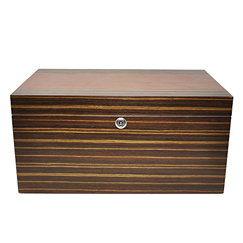 LOLIFUN Wood Cigar Humidor holds up to 100 cigars Size:380X250X185mm(15X9.84X7.28inch) with HYGROMETER, HUMIDIFIER AN-0847 by LOLIFUN