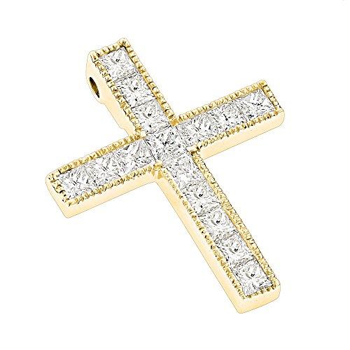 Luxurman 14K Princess Cut Natural 2.5 Ctw Diamond Cross Necklace (Yellow Gold)
