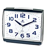 Power Large Size Non Ticking Household Alarm Clock for Bedrooms with Light and Snooze (Blue)