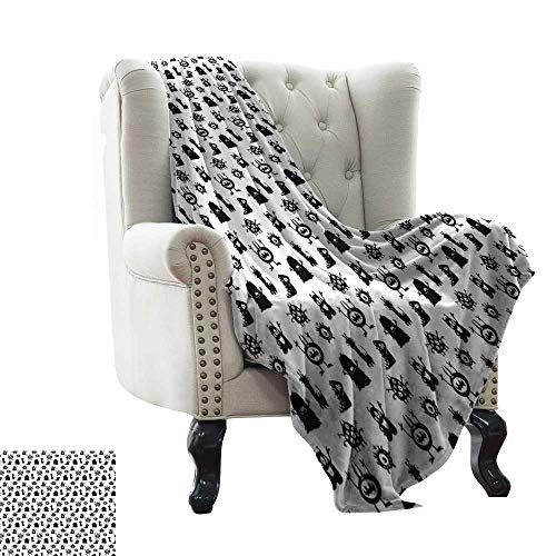 LsWOW Travel Blanket Alien,Monochrome Monster Silhouettes Childish Drawings of Otherworldly Beings Halloween,Black White for Bed & Couch Sofa Easy Care 70