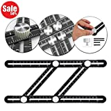 Lussam Universal Angularizer Ruler - Lussam Full Metal Multi Angle Measuring Tool - Ultimate Template Tool - Upgraded Aluminum Alloy Multi Functional Ruler with Lazer Etched