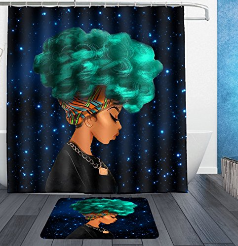 galaxy starry Afro Sexy Lady green Hair African american Girl Character Shower Curtains Mildew Resistant Waterproof Anti-Bacterial Polyester Fabric Bathroom Curtain with hooks and bath mat rug