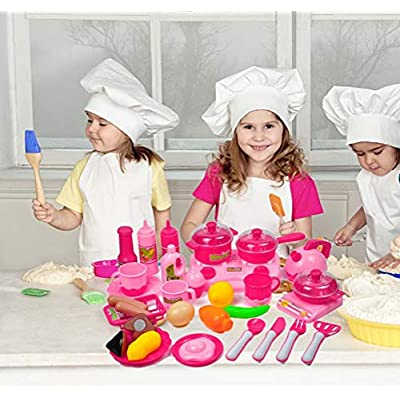SUSHAFEN 33Pcs/Set Kids Kitchen Toy Pretend Play Plastic Vegetables and Fruit Food Tea Cup Dishes Kids Cooking Play Set Goods Girls Educational Toys,Pink: Kitchen & Dining