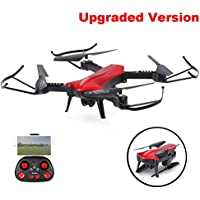 SZJJX RC Drones Foldable Remote Control Wifi Quadcopter FPV VR Helicopter 2.4GHz 6-Axis Gyro 4CH with Optical Flow Positioning, Adjustable Wide Angle 2MP HD Camera RTF SJ60 (Red) Upgraded