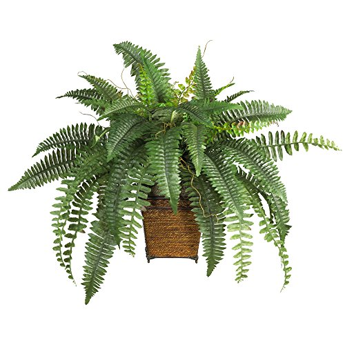 Nearly Natural 6549 Boston Fern with Wicker Decorative Silk Plant, Green by Nearly Natural