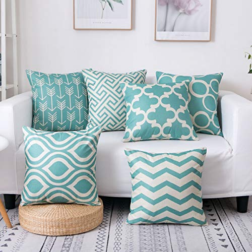 famibay Square Cotton Linen Pillow Covers Home Decorative Throw Cushion Cover Sets Geometric Patterns Pillow Cases for Sofa Bedroom Living Room 18 X 18'' Pack 6 Green ()