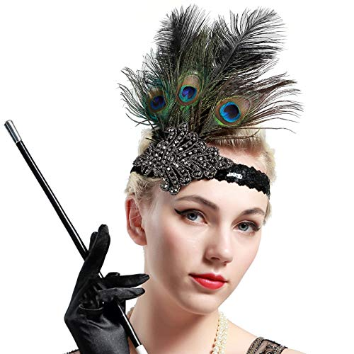 (BABEYOND 1920s Flapper Peacock Feather Headband 20s Sequined Showgirl Headpiece (Style-1))