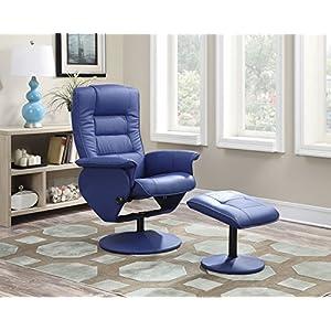 ACME Furniture 59366 2 Piece Arche Recliner Chair & Ottoman, Blue