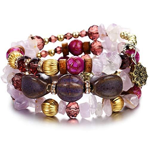 ISAACSONG.DESIGN Bohemian Multilayer Healing Stone Crystal Beads Charm Tribal Wrap Bangle Bracelet for Women (Purple) - Design Stretch Bangle Bracelet