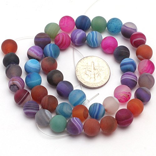 Precious Agate Semi Stone (8mm Natural Semi Precious Round Frost Mixed Agate Gemstone Beads for Jewelry Making Strand 15